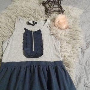 """Navy blue and gray skater dress"""